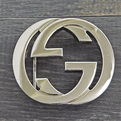 GUCCI Silver Plated Interlocking GG Logo Belt Buckle #1854be Rise-on