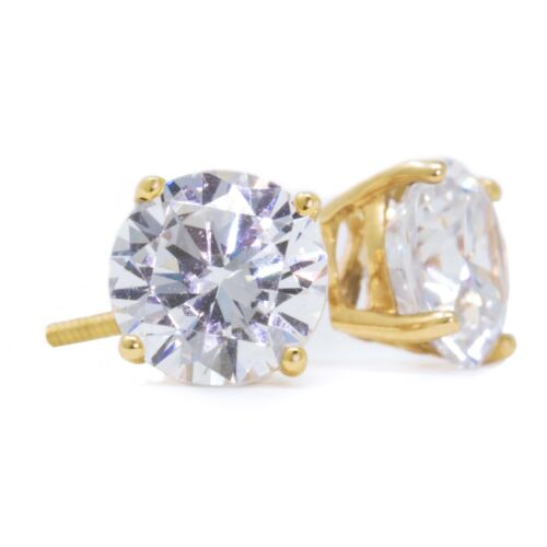 3 Ct Round Cut Stud Diamond Earrings In Solid 14k Yellow Gold Screw Back Studs