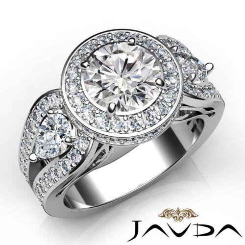 2.85ct Round Diamond 3 Stone Engagement Filigree Ring GIA F VVS2 14k White Gold