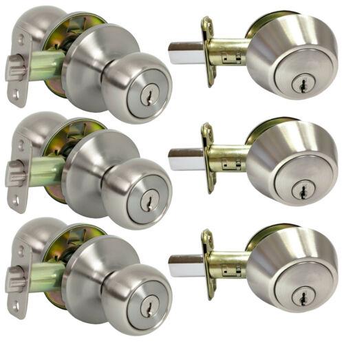 3 Pack Pro-Grade Round Ball Entry Door Knob and Deadbolt Combo, Satin Nickel