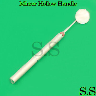 Dental Mouth Mirror Hollow Handle With Mirror Teeth Cleaning Inspection Exam New