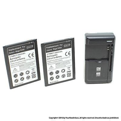 2 x 3500mAh Battery for Samsung Galaxy Mega 6.3 i9200 I9205 I9208 Charger