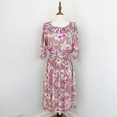 80s Dresses | Casual to Party Dresses Vintage The Dress Company Midi Tea Dress Pink Floral Collared Size 16 $37.41 AT vintagedancer.com
