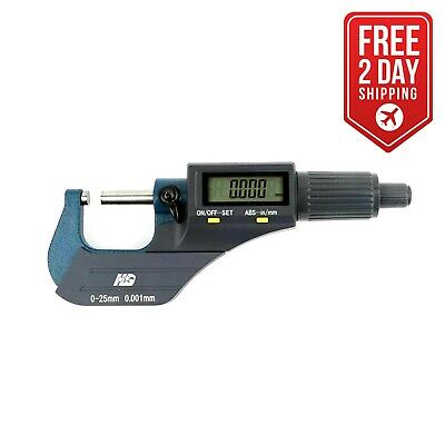 Big Horn 19204 Digital Electronic Outside Micrometer 0-1 Large Lcd