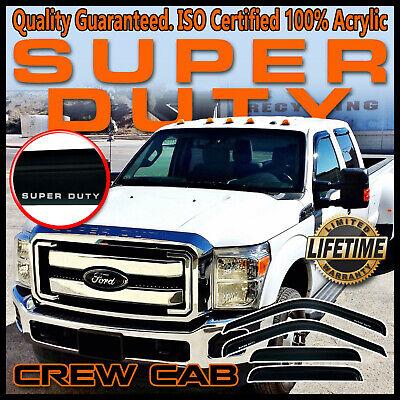 Super Duty 1999-2016 F250-F550 Crew Cab Window Deflector Visors Vent Shade -Logo