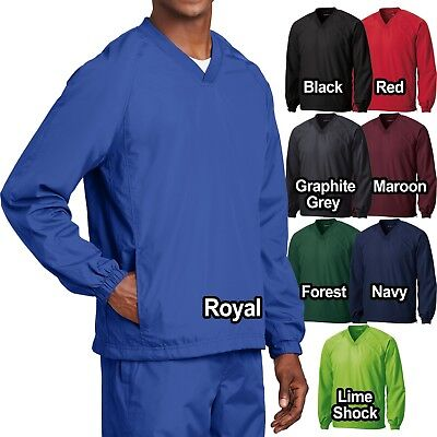 Big Mens Wind Shirt Windbreaker Jacket Lined V-Neck Pockets Pullover XL 2X 3X 4X ()