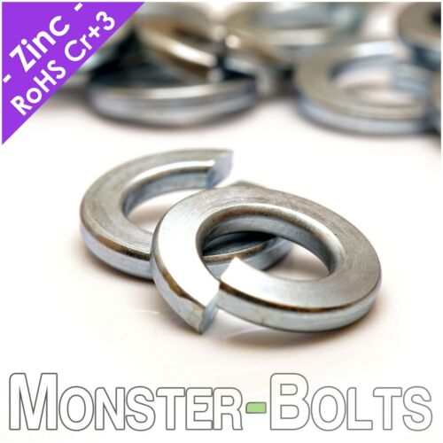 "SAE Zinc Plated Steel Split Lock Washers Cr+3  #4 #6 #8 #10 1/4"" 5/16"" US Inch"