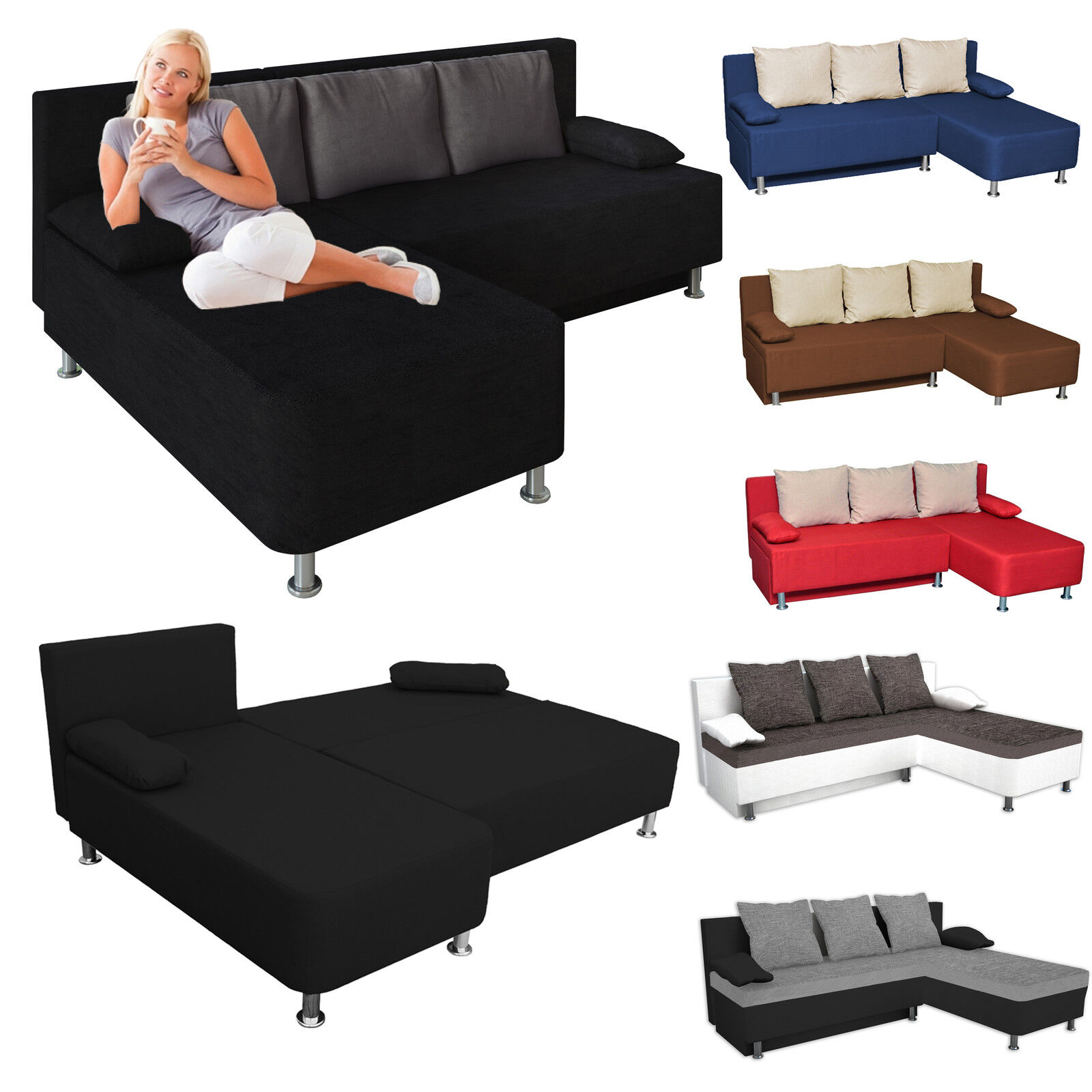vcm ecksofa schlafsofa sofabett sofa couch mit schlaffunktion farbwahl ebay. Black Bedroom Furniture Sets. Home Design Ideas