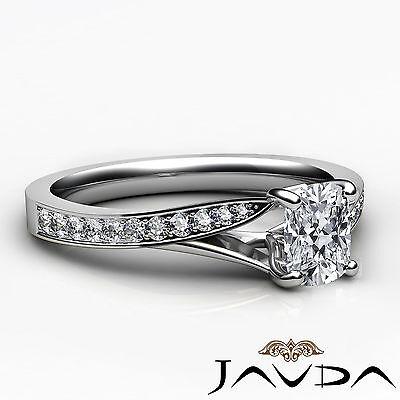Split Shank Pave Setting Cushion Shape Diamond Engagement Ring GIA F VS1 0.68Ct 2