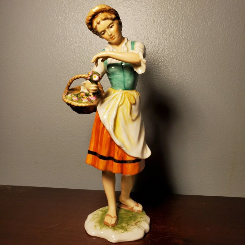 Vintage Woman w/ Flower Basket Porcelain Figurine Alka Kaiser Bavaria 1938-1958