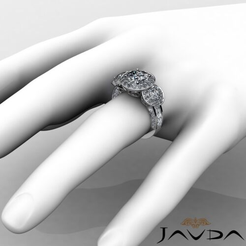 2.8ct Halo Pave Round Diamond Engagement 3 Stone Ring GIA F VS2 14k White Gold 3