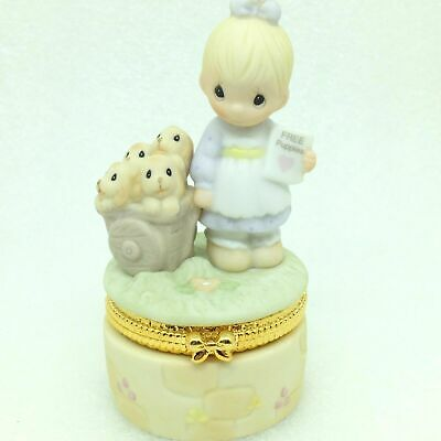 Precious Moments GOD LOVETH A CHEERFUL GIVER Trinket Box Puppy Dog Figurine NOS