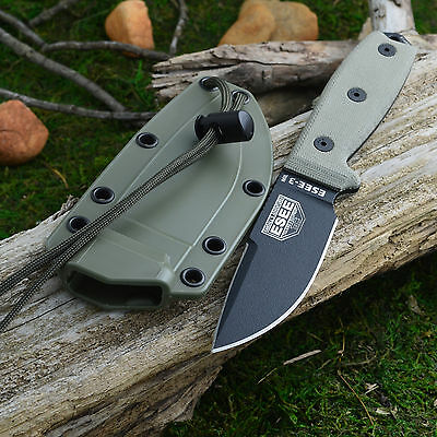 Esee 3 Plain Edge Fixed Blade Survival Knife Od Green Sheath 3Mil P Cp