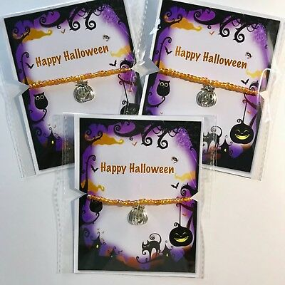 New Happy Halloween Pumpkin Charm Bracelet, Party Bag Gift idea, Beaded, lot  - Halloween Party Bag Ideas