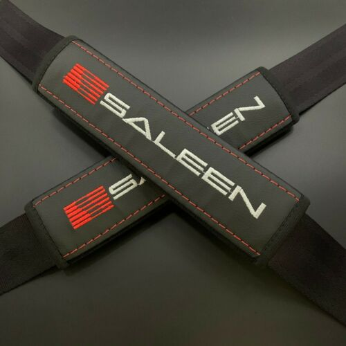 Black Seat Belt Shoulder Pads Covers red & gray embroidery fits Saleen 2PCS