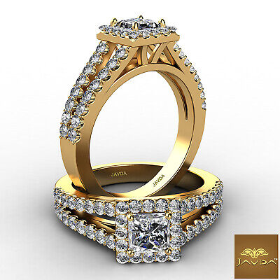 Halo Split Shank Princess Diamond Engagement French U Pave Ring GIA F SI1 1.25Ct