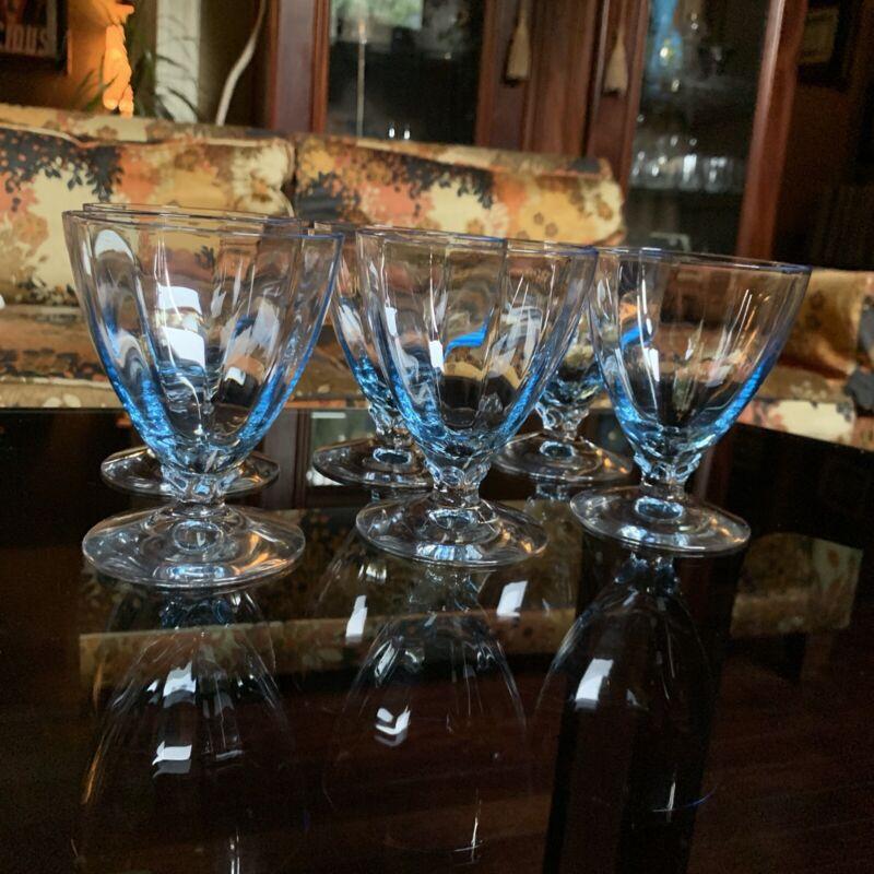 "6 elegant fostoria fairfax Blue oyster cocktail glass 3-3/4"" h. 5-1/4 oz Vintage"
