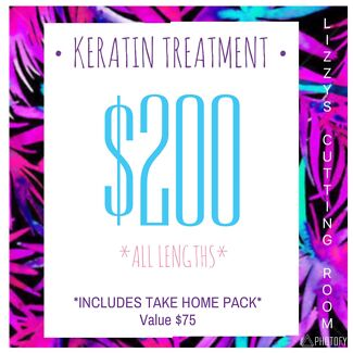 KERATIN TREATMENT ONLY $200* includes $75 take home care pack