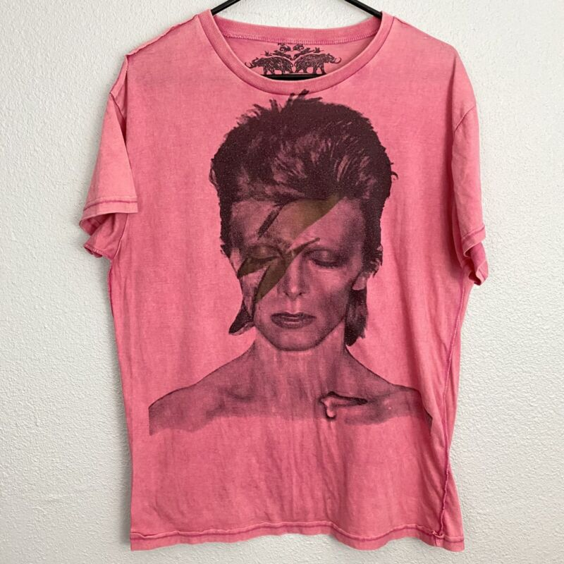 David Bowie Factory Made Inside Out Pink Short Sleeve Tee Size Medium M