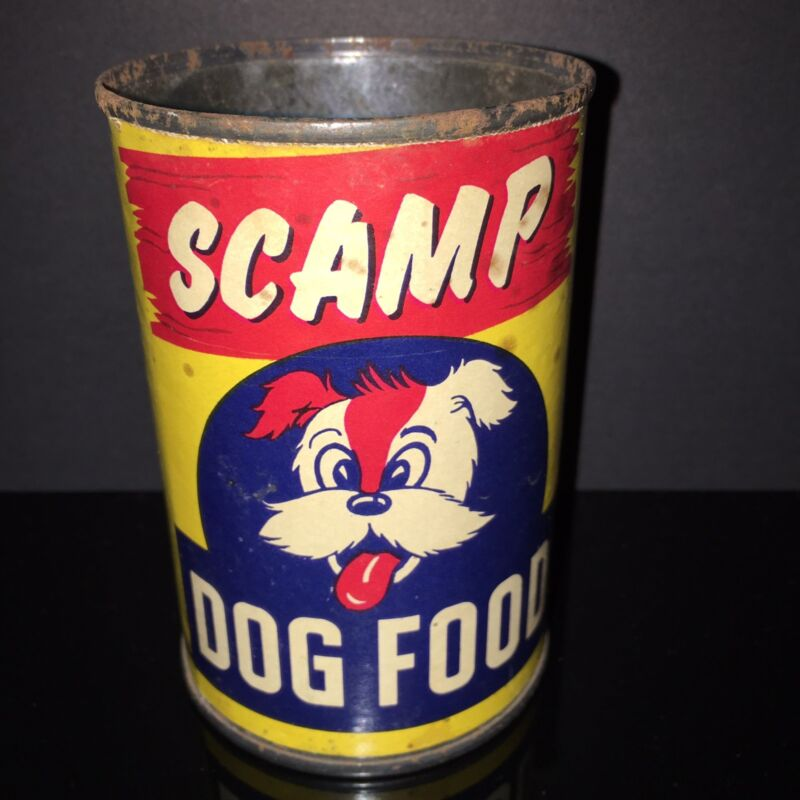 HTF VINTAGE! Scamp 1940s Dog Food Tin Can Classic Paper Label Old Pet Shop