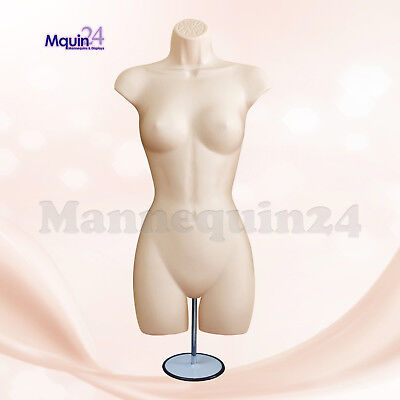 Female Torso Mannequin Dress Form - Flesh W Metal Stand Hanging Hook
