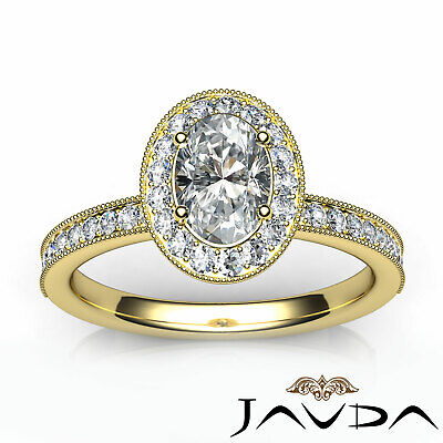 Milgrain Edge Pave Bezel Set Halo Oval Diamond Engagement Ring GIA F VVS2 1.21Ct 10