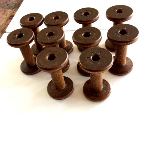 "A Lot of 10  Wooden 3 3/4"" Silk Spools"