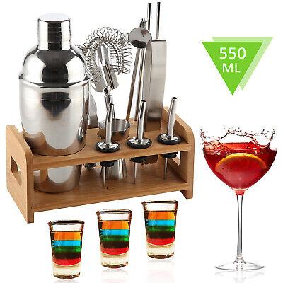 12-tlg Edelstahl Cocktail-Shaker Bar Zubehör Set Barmixer Barset Handshaker LM - Shaker Bar Set