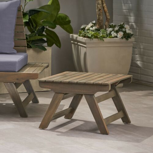 Kailee Outdoor Wooden Side Table, Gray Finish Home & Garden
