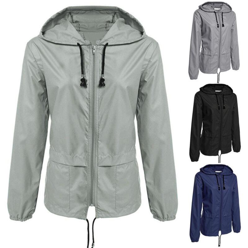 Women Rain Hooded Raincoat Waterproof Outdoor Anorak Coat Wi