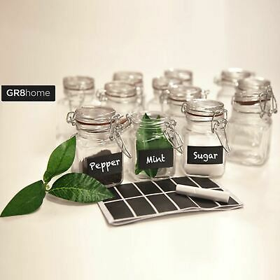 GR8Home 12 x Mini Clip Top Airtight Seal Food Spice Storage Preserve Glass Jars