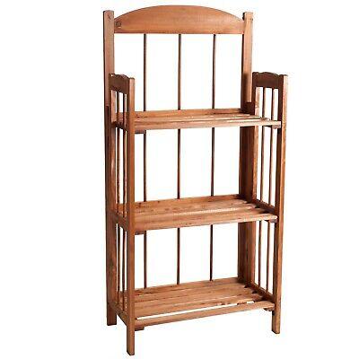 3 Shelf Wooden Bookcase with Light Wood Finish 35 Inch Bedroom Hallway Decor