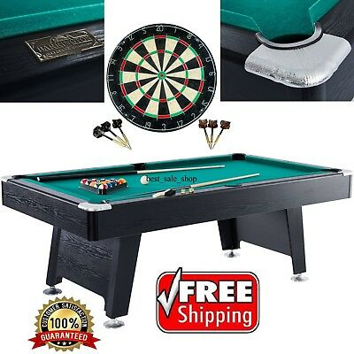 Pool Table Game Room 84 Inch Billiard Balls Cues Table With Bonus Dartboard Set