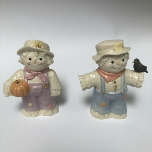 LENOX A Dash of Autumn Porcelain Scarecrow Salt Pepper Shakers, Fall