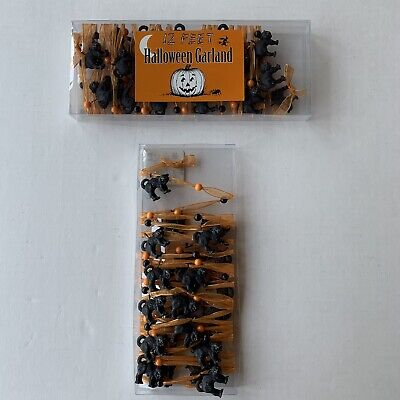 Halloween Cat Garland * 12 feet * Ribbon, Beads and Cats Galore