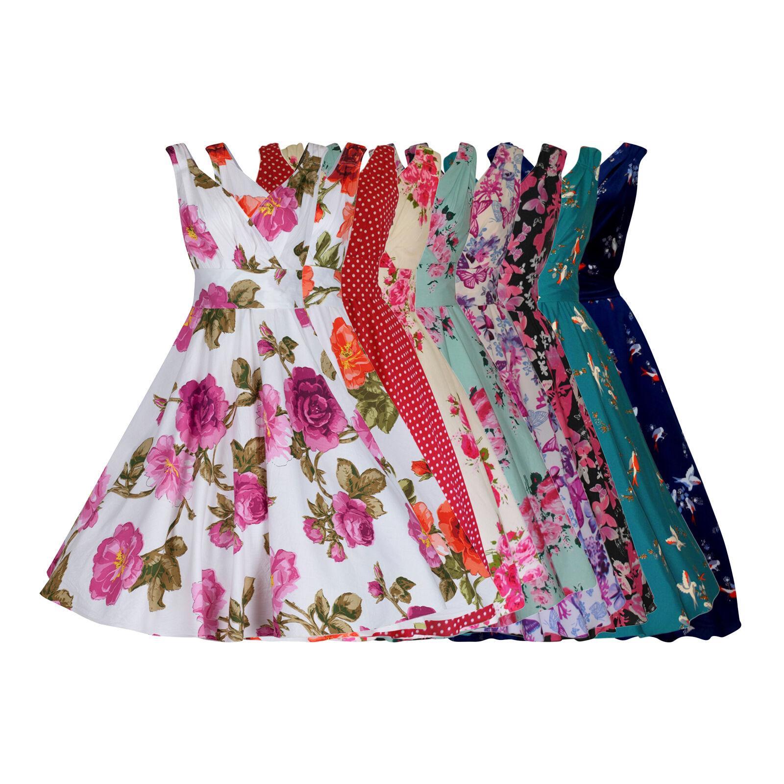WOMENS 40's 50's RETRO VINTAGE FLARED ROCKABILLY TEA DRESS MANY PRINTS NEW 8-28