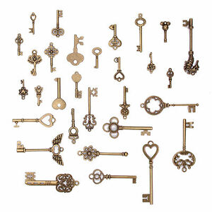 70 Set Skeleton Retro Antique Vintage Key Charms Pendant Old Look Jewelry