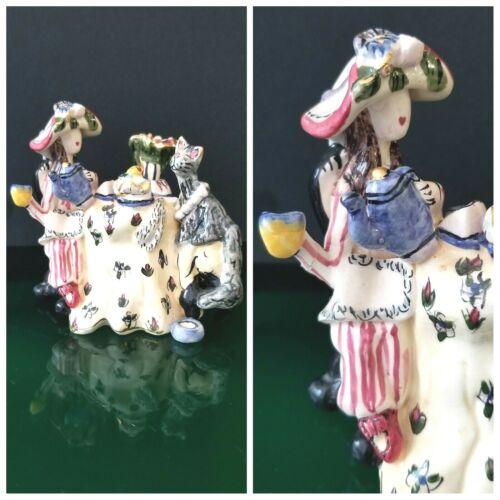 Blue Sky Clayworks TEA TIME Figurine Lady and Cat Heather Goldminc Figure