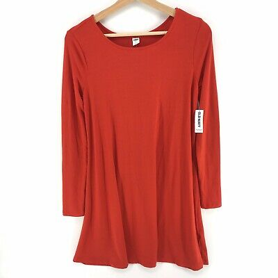 Old Navy Dress Long Sleeve Scoop Neck Swing Mini Dress Soft Stretch Red Sz Small ()