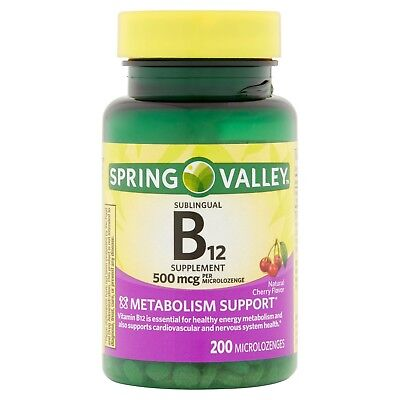 New Spring Valley Natural Cherry Flavor Vitamin B12 Microlozenges 500 mcg 200 Ct