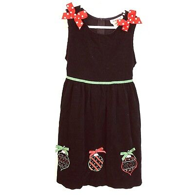 Christmas Dress, Girl's6X, Corduroy, Black, Bright Colors, Polka Dots,Jumper