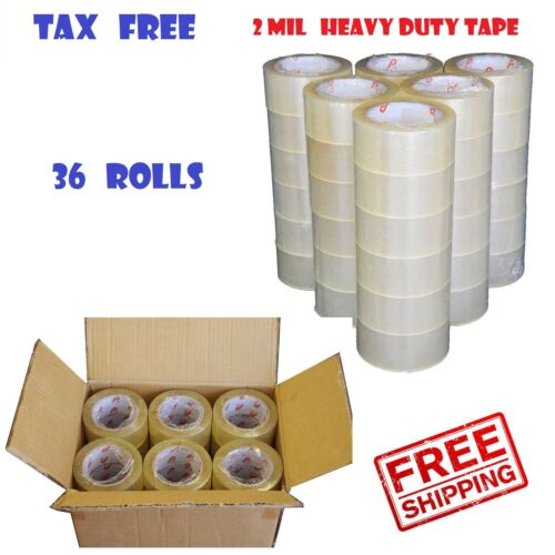 36 ROLLS - 2 INCH x 110 Yards (330 ft) Clear Carton Sealing Packing Package Tape
