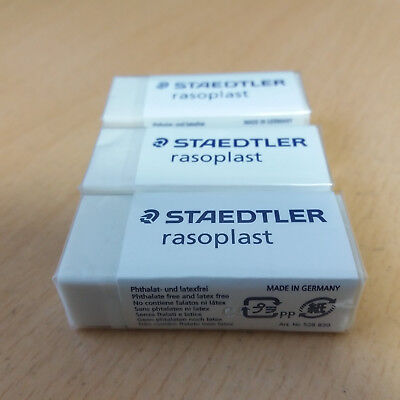 3 Pcs Staedtler Rasoplast Eraser 526 B30 White Latex Phthalate Free