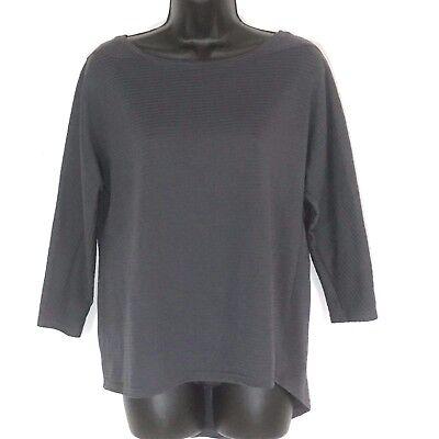 Be Inspired L Swing Top Hi Lo Gray Shadow Stripe Performance Tunic Shirt 3 4