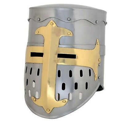 """Medieval Armor Knight Crusader Helmet  Metal Chrome, 11"""" Swaggersouls - Style"""