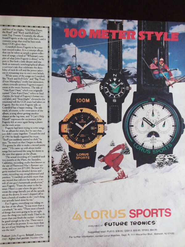 1989 Lorus Sport Watches 100 Meter Style Advertisement Skiers