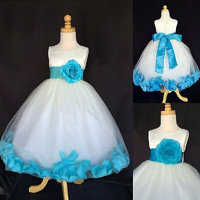 Ivory Tulle Turquoise Rose Petal Dress Birthday Flower Girl Pageant Birthday#024
