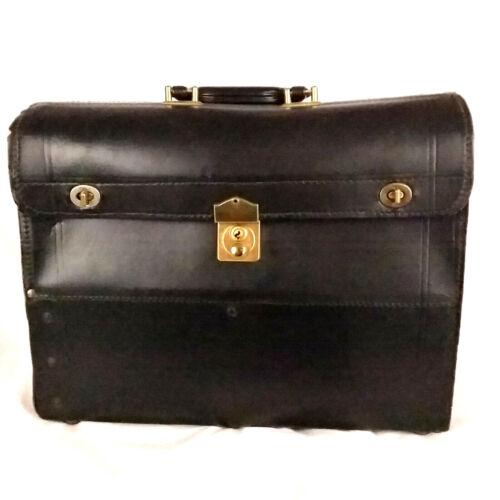 C.H. ELLIS Black Leather Locking Case Bag Doctor Top Grain Cowhide Vintage Medic