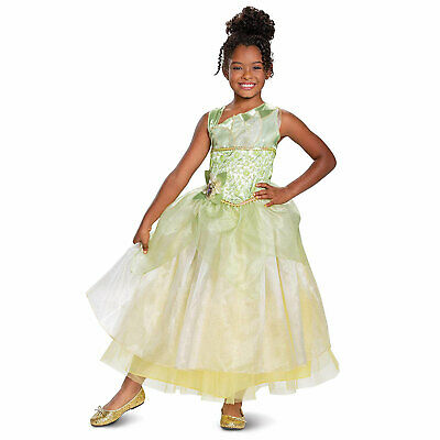 DELUXE Child Girls Disney Princess And The Frog Tiana Halloween Costume Dress