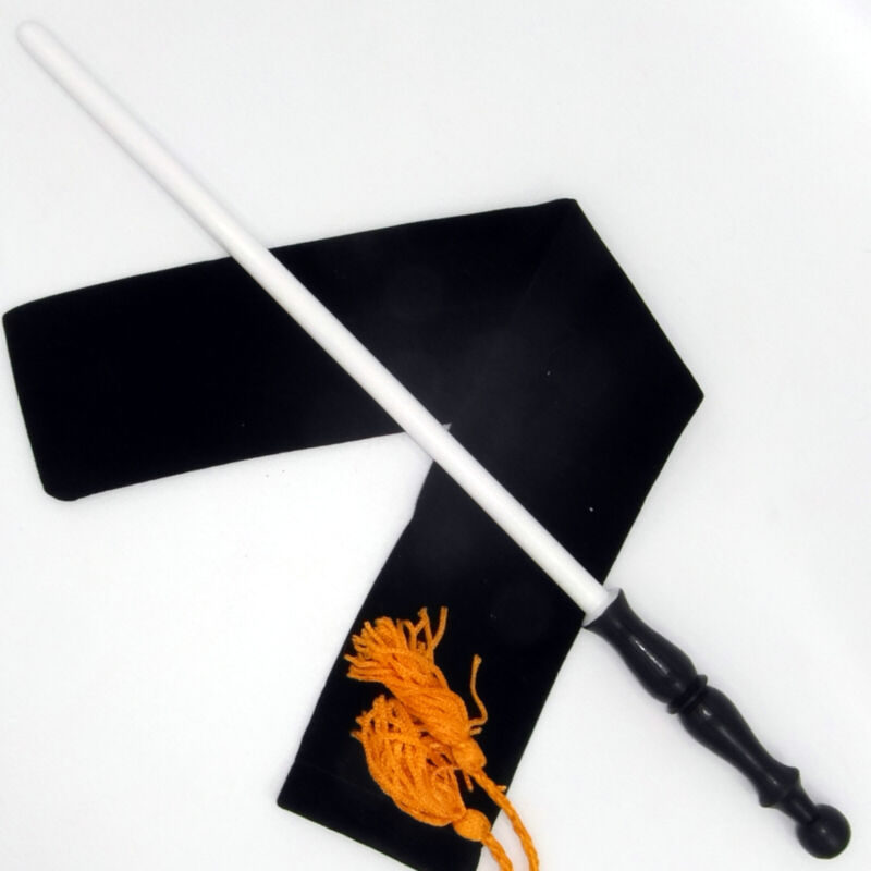 """14"""" Guidance Hand Turned Mahogany Wood Magic Wand Witch Wizard w/ Velvet Bag"""